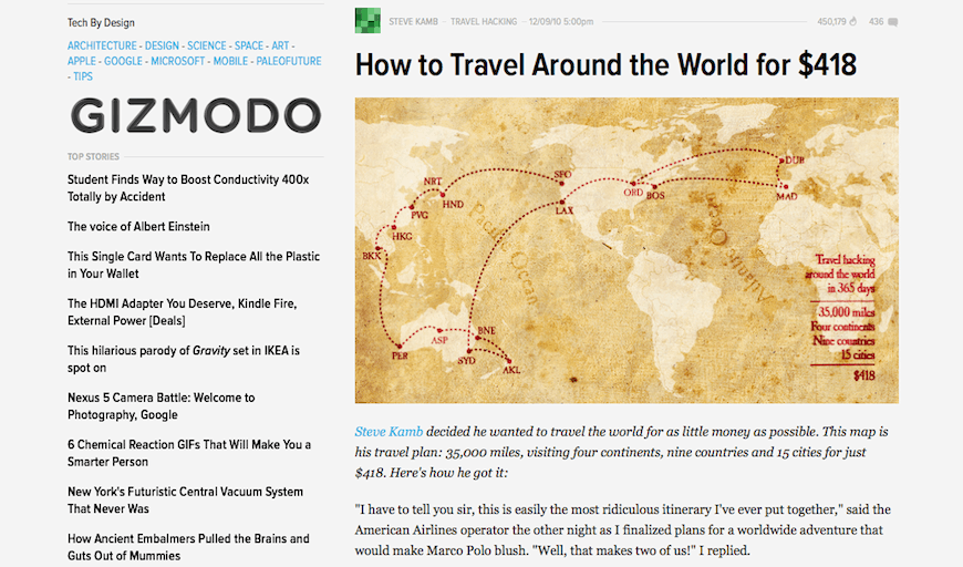 nerd fitness steve kamb gizmodo how to travel the world for $418