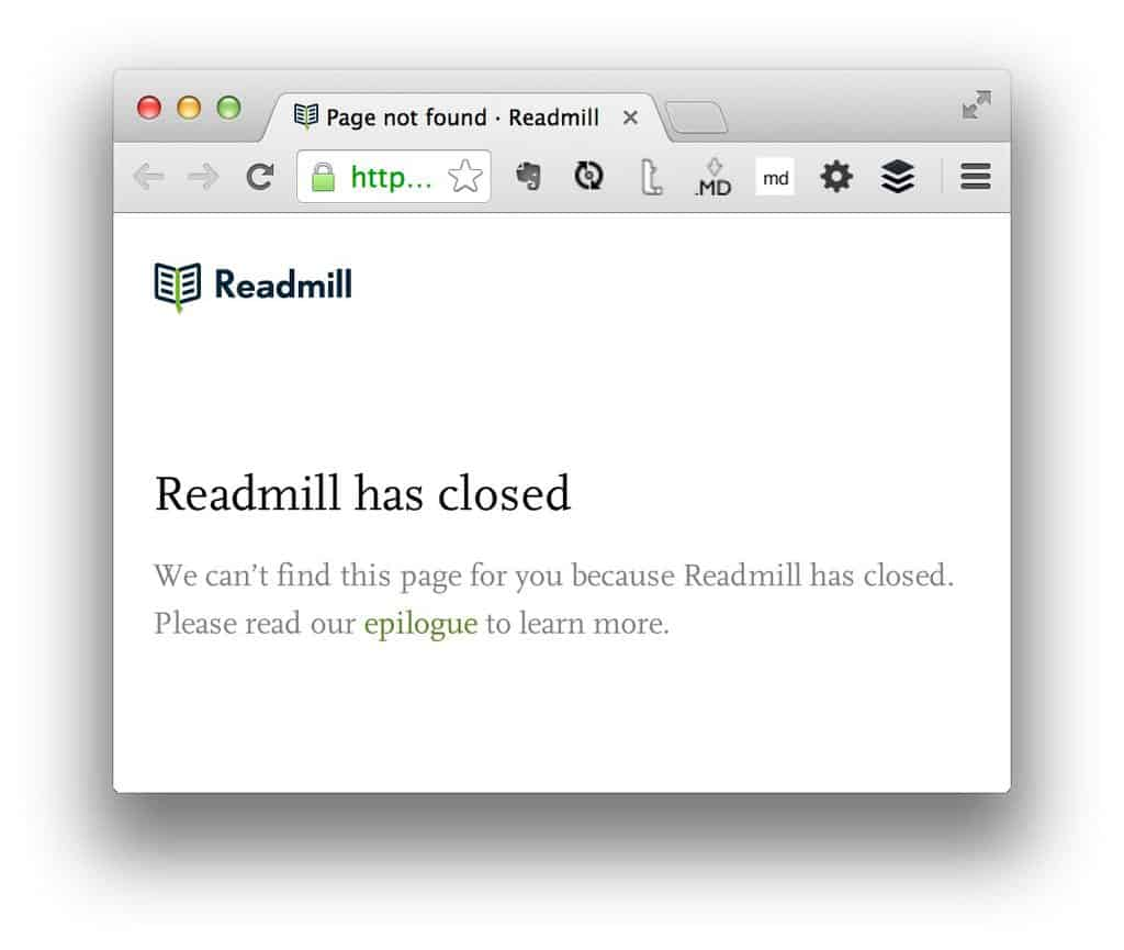 Readmill shut down notice