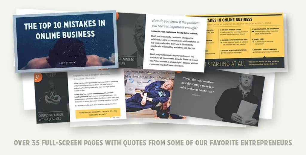 a few pages from Fizzle's Top 10 Mistakes in Online Business Guide