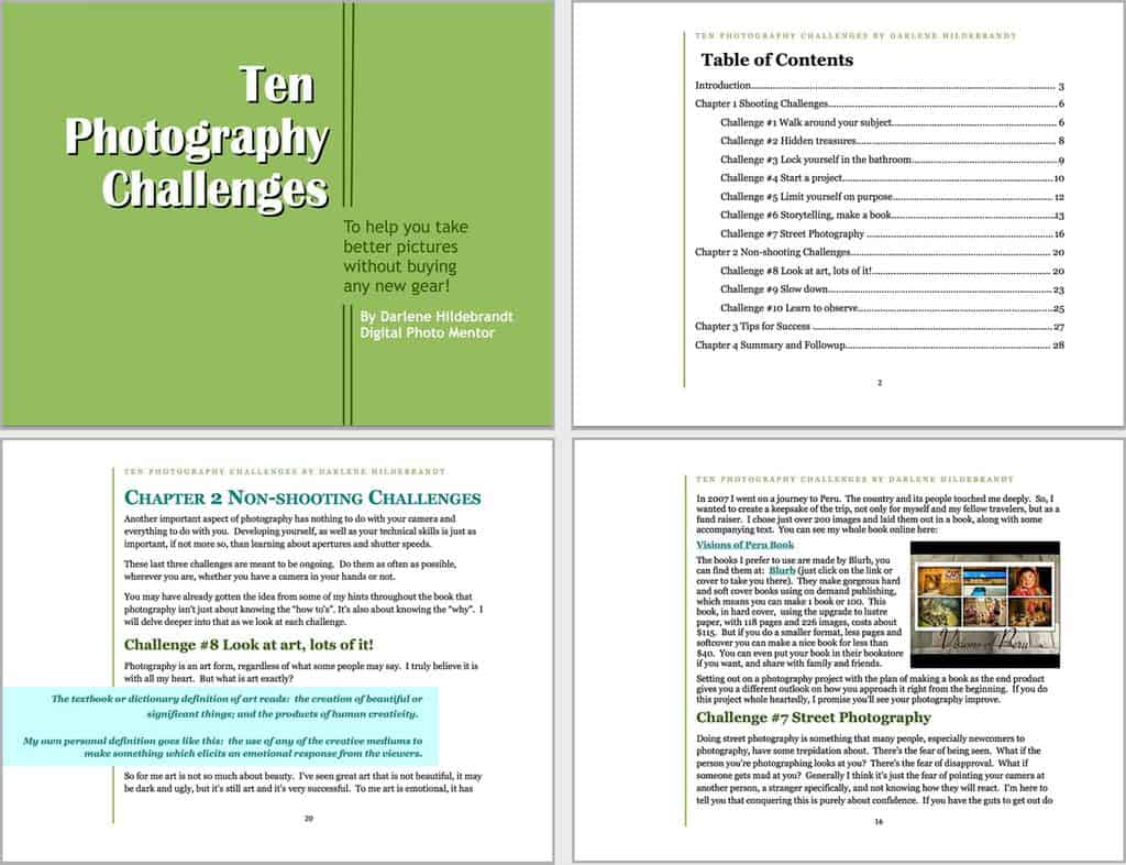 Here's a few sample pages of Darlene's Photo Challenge ebook before she worked with a designer.