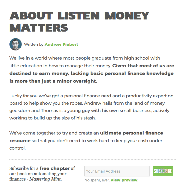 About Page Example (Listen Money Matters)