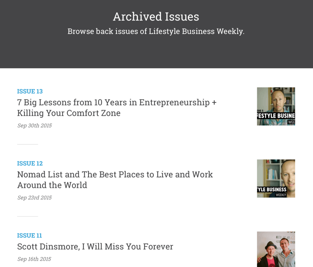 The full archive of my email newsletter, generated by Curated.co